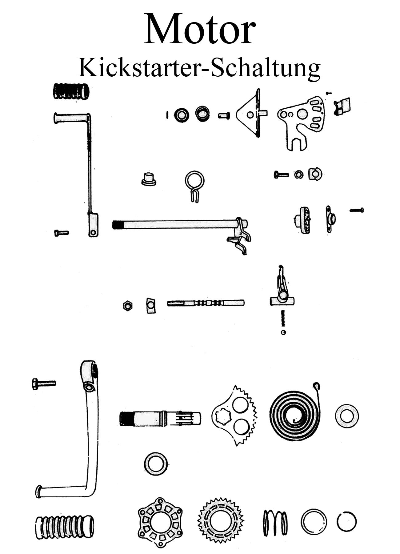 MZ TS 125 150 Ersatzteile Motor Kickstarter Schaltung
