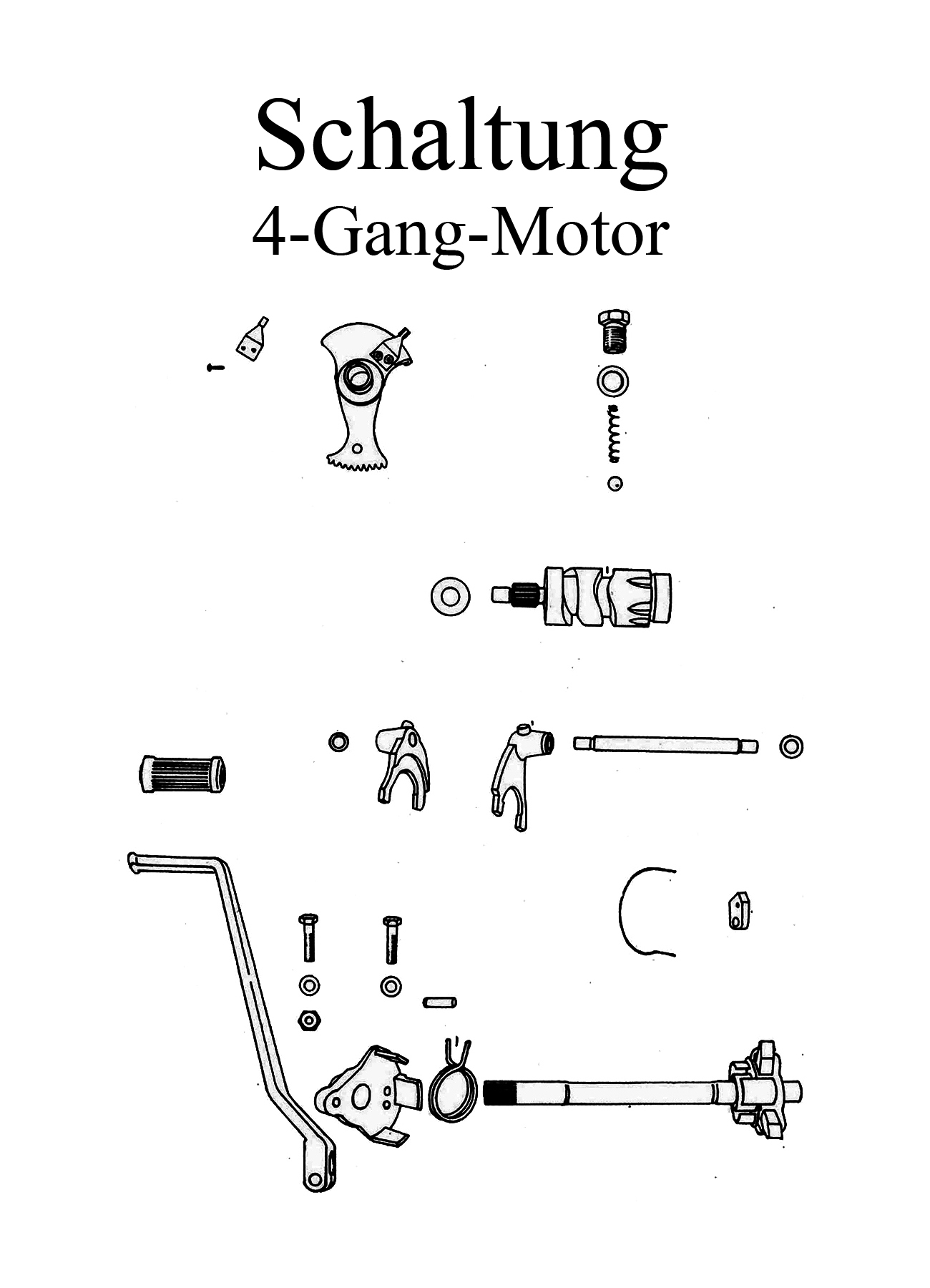 MZ TS 250 Ersatzteile 4 Gang Motor Schaltung