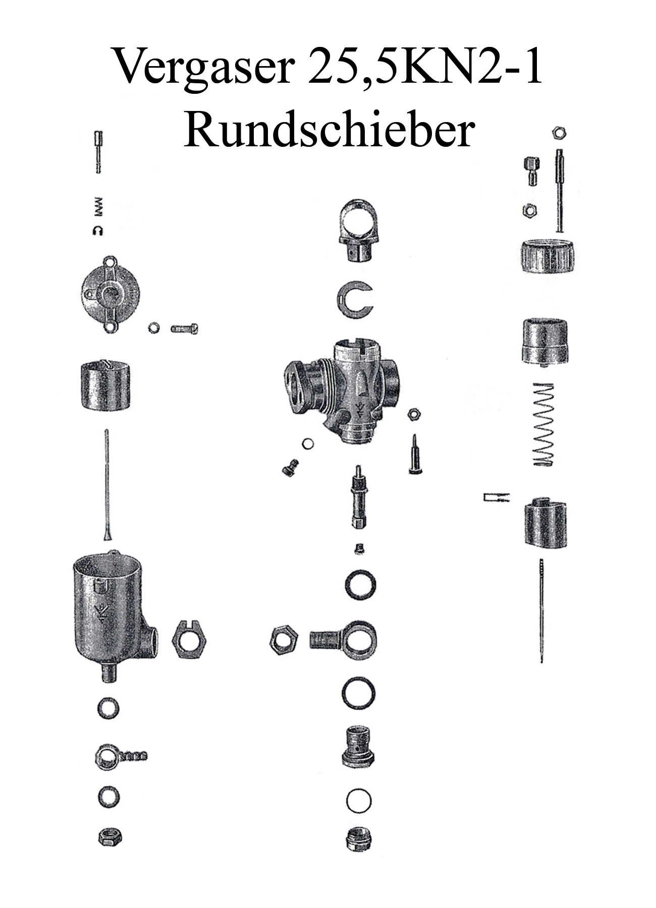 DDR-Motorrad AWO Sport BVF Rundschiebervergaser 25,5KN2-1 Düse Dichtung Schwimmer Nadelhalter Schieber Reparaturset