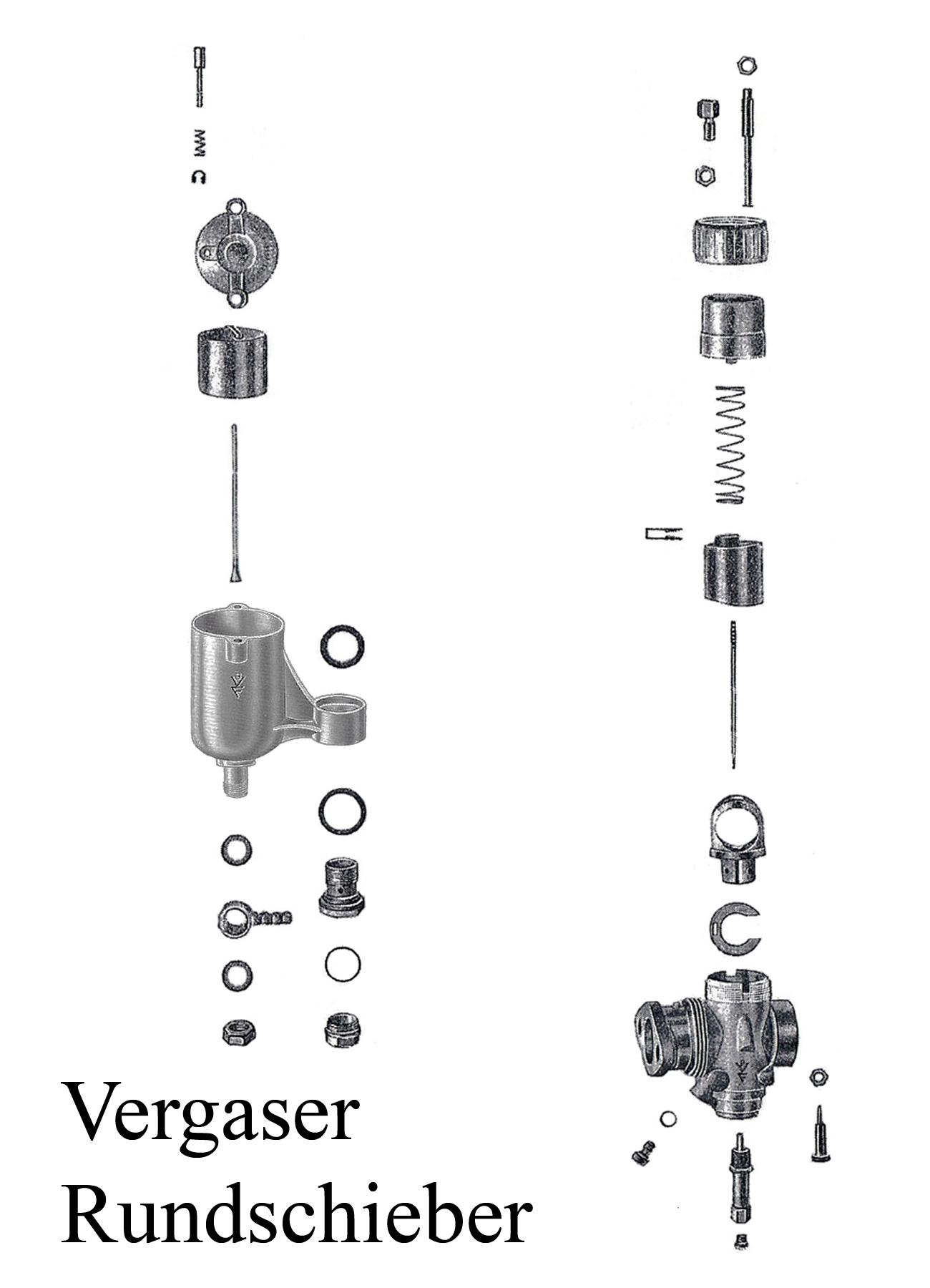 DDR-Motorrad AWO Touren BVF Rundschiebervergaser 22KN2-1 Düse Dichtung Schwimmer Nadelhalter Schieber Reparaturset