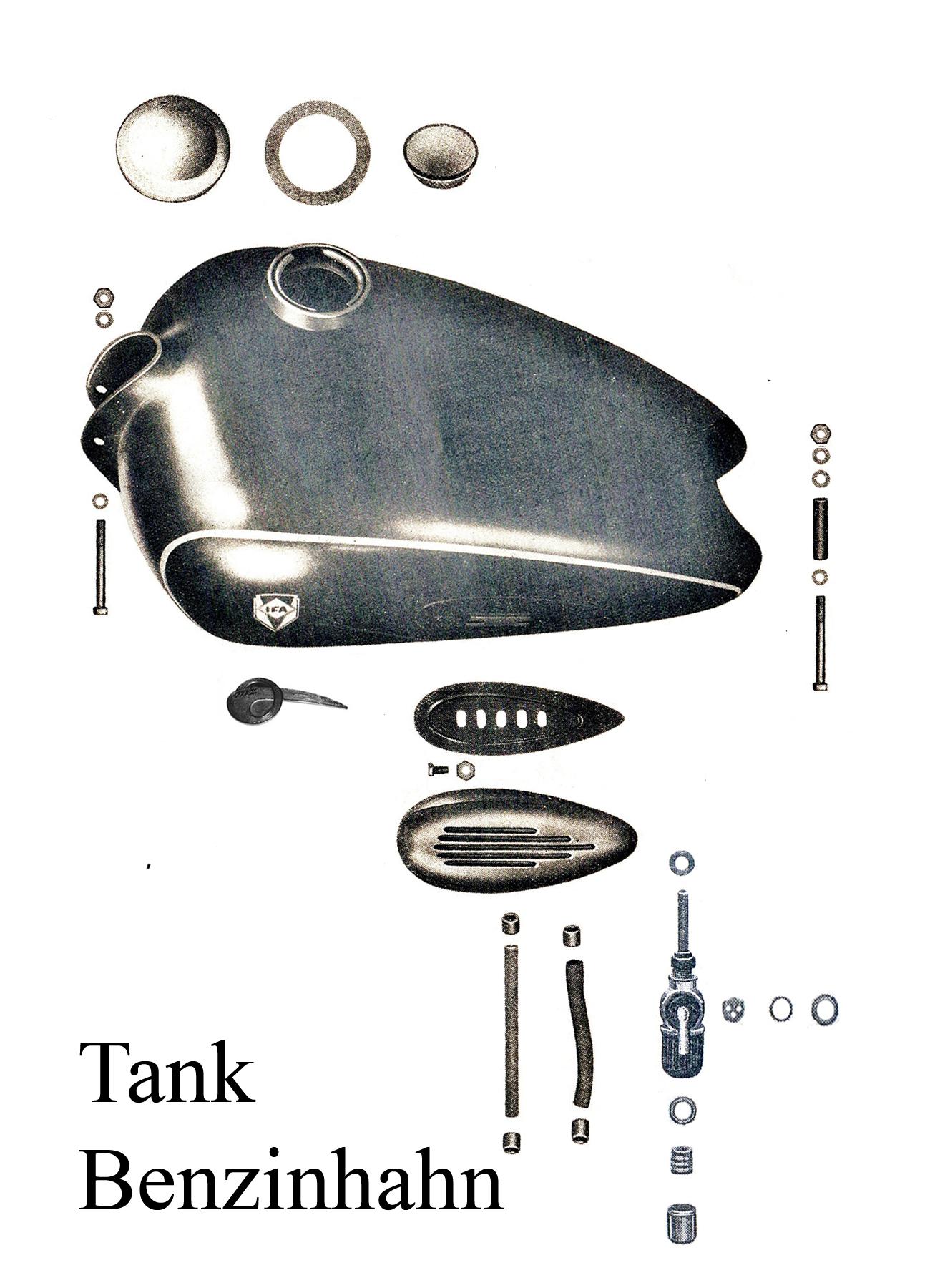 DDR-Motorrad IFA MZ BK 350 Ersatzteileliste Tank Kniekissen Deckel Benzinhahn