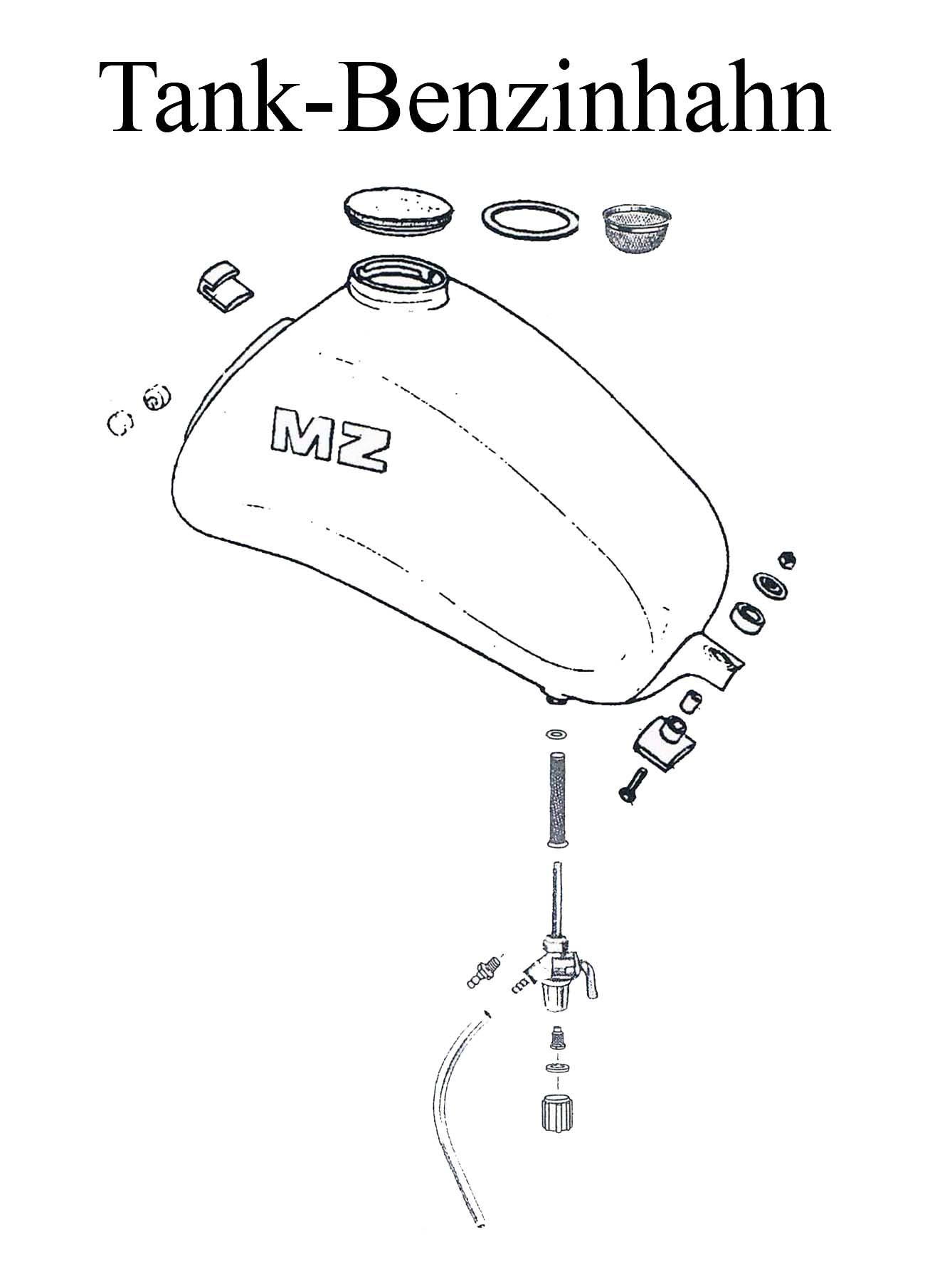 MZ ETZ 125-150 Ersatzteileliste Tankdeckel Dichtung Benzinhahn Filter Schlaucht