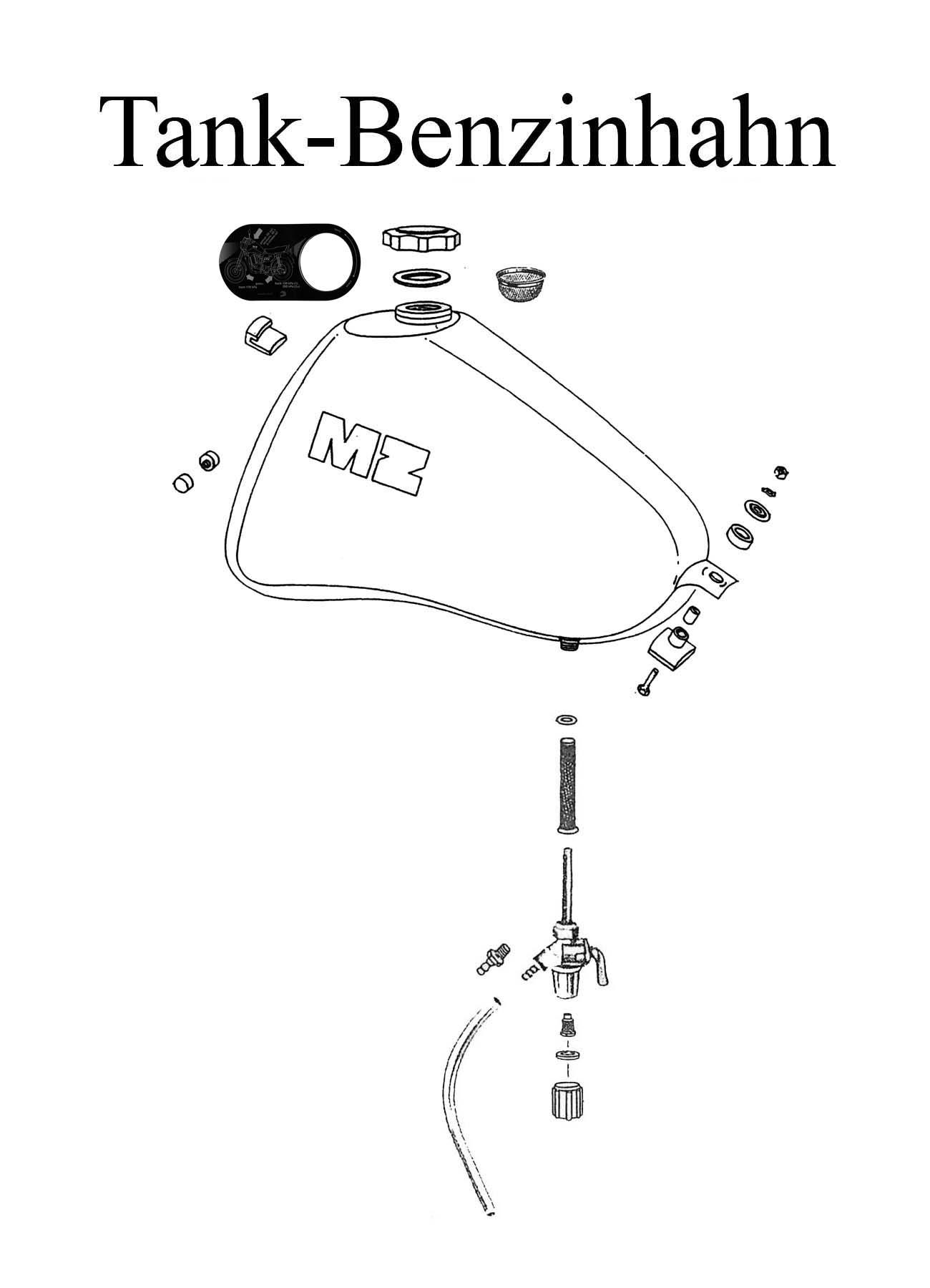 MZ ETZ 251 Ersatzteileliste Tankdeckel Dichtung Benzinhahn Filter Schlauch