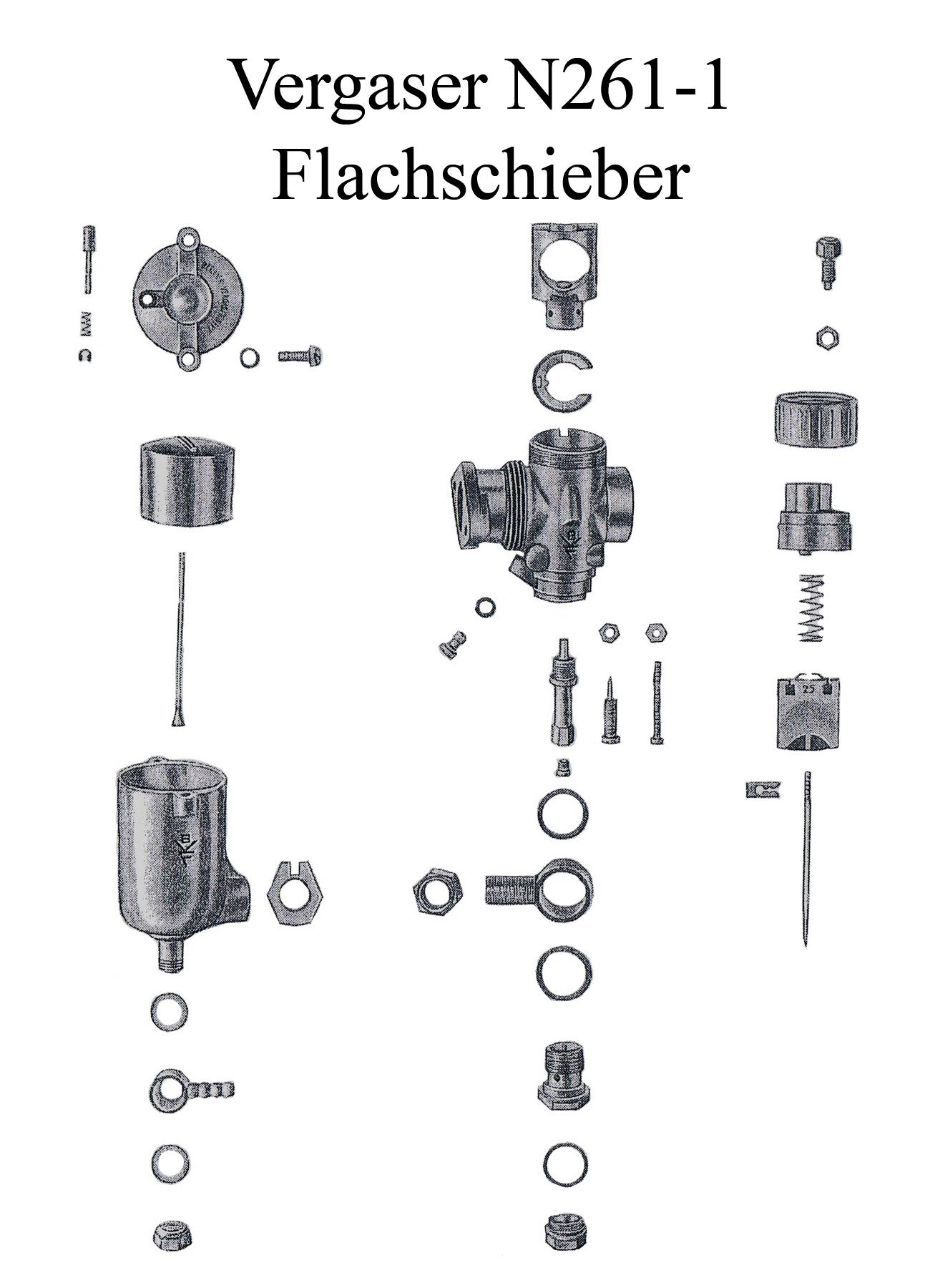 DDR-Motorrad Sport AWO BVF Flachschiebervergaser N261 Düse Dichtung Schwimmernadel Schieber Reparaturset