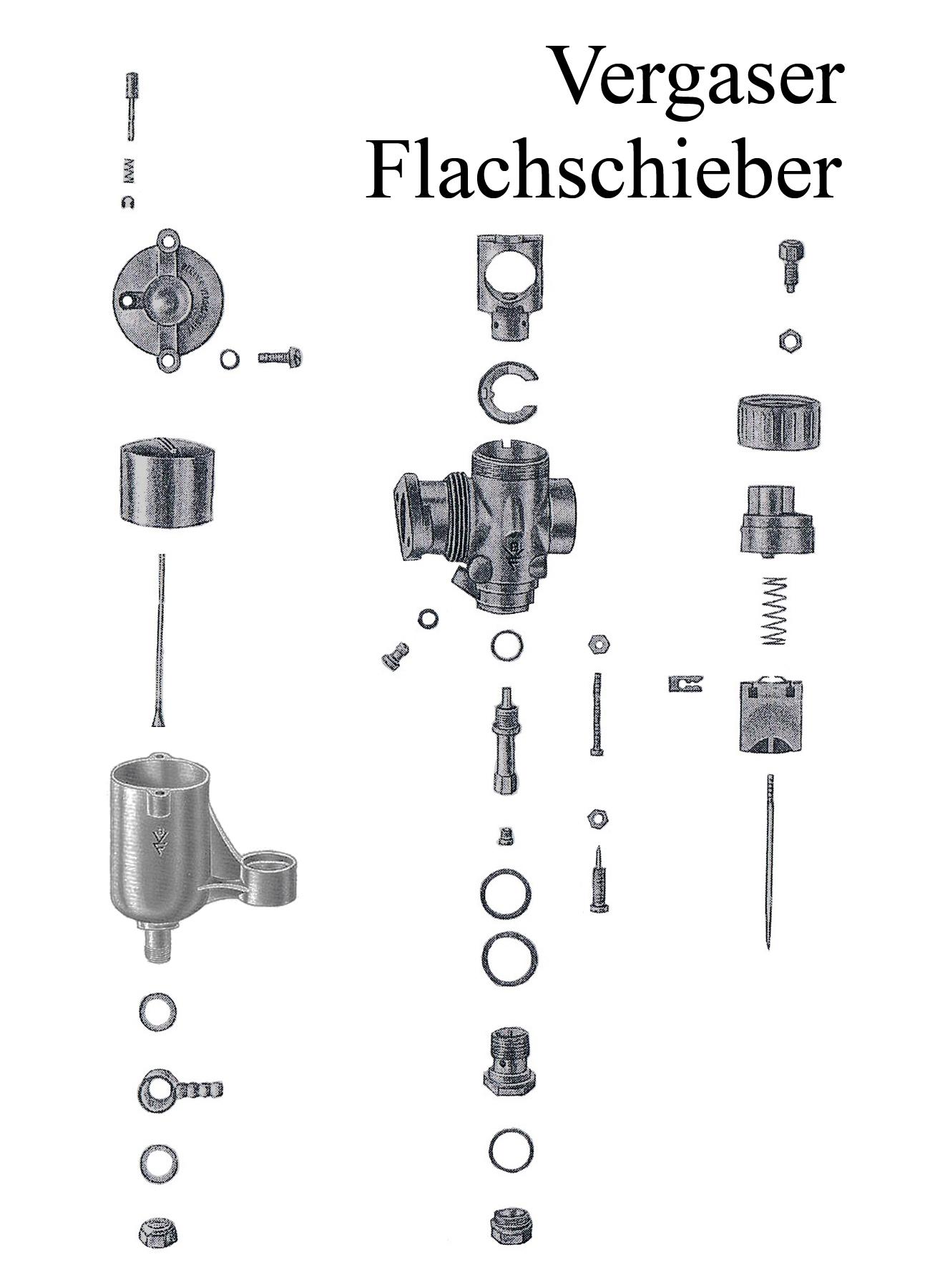 DDR-Motorrad AWO Touren Flachschiebervergaser 22N Düse Dichtung Schwimmer Nadelhalter Schieber Reparaturset