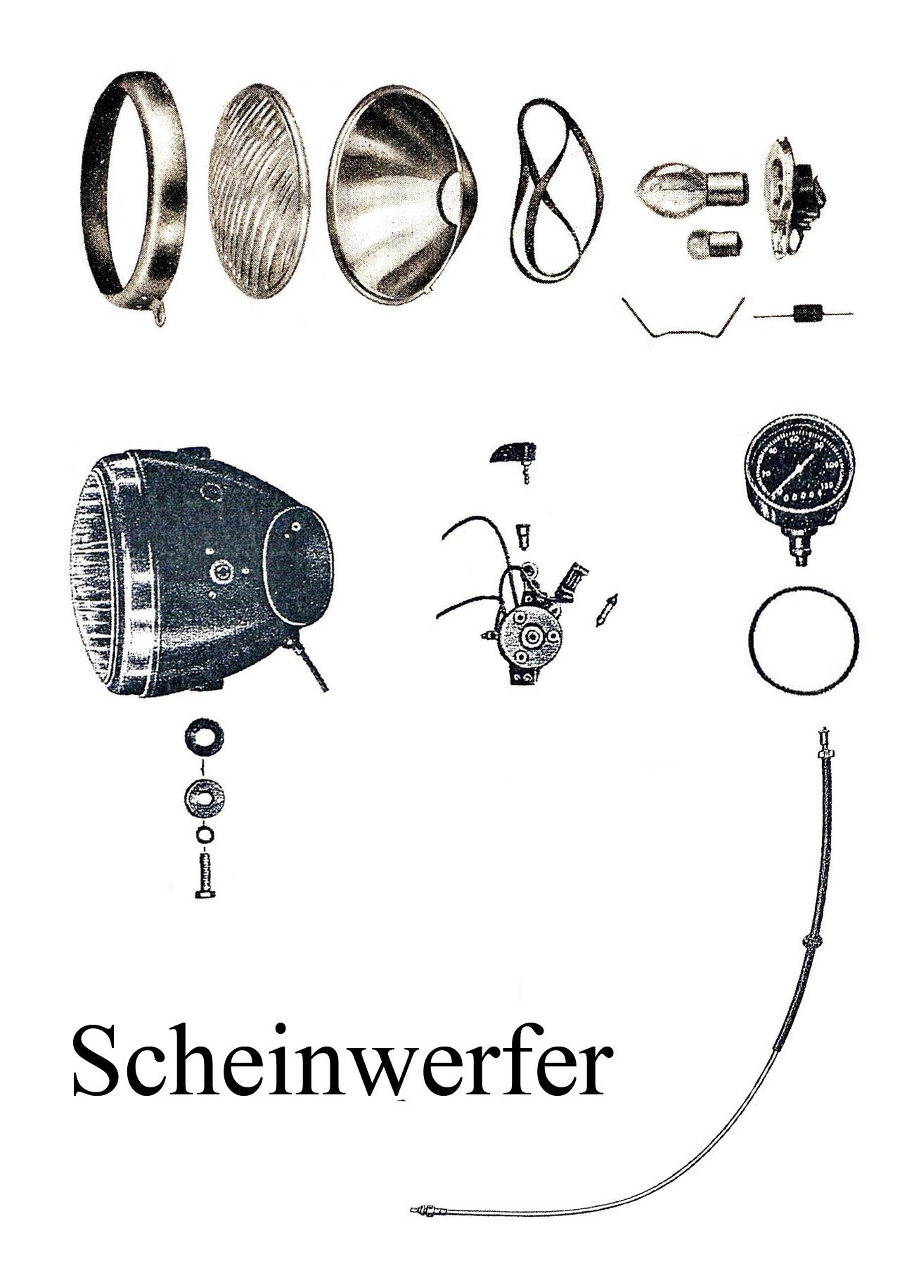 DDR-Motorrad EMW R 35 Ersatzteileliste Scheinwerfer Reflektor Lampenring Abblendschalter Tachometer