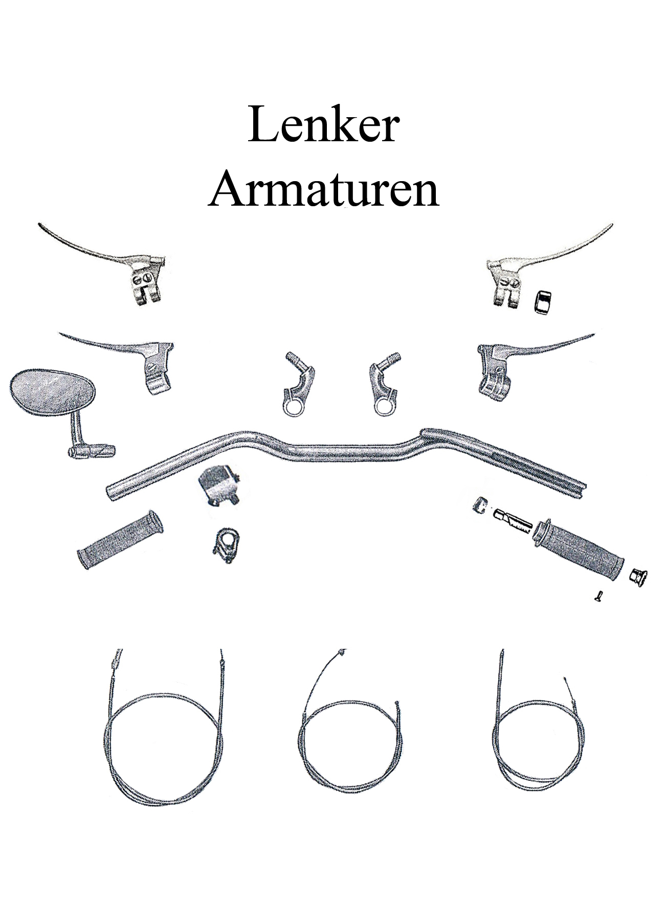 DDR-Motorrad AWO Sport Ersatzteileliste Lenker Gasgriffgummis Spiegel Schalter Armatur Bremse Kupplung Bowdenzug-Set