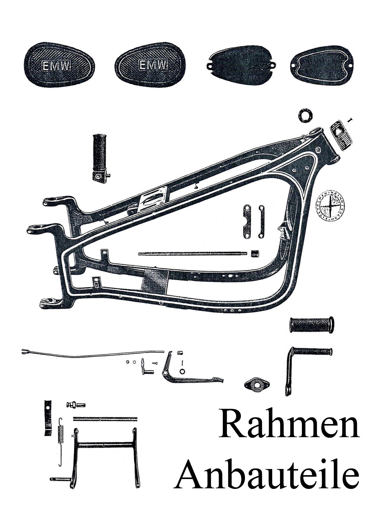 DDR-Motorrad EMW R 35 Ersatzteileliste Rahmen Typenschild Kniekissen Fußrastengummis Ständerfeder Embleme Bolzen
