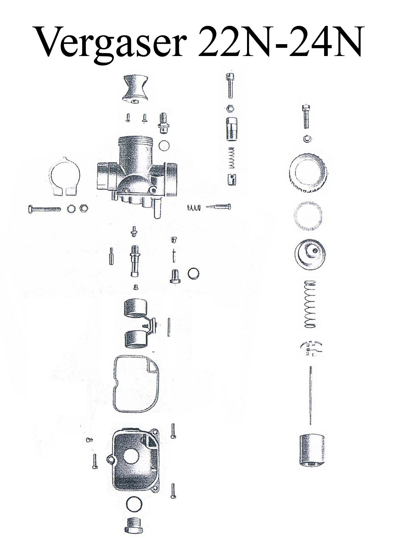 DDR-Motorrad MZ ES 125-150/0-1 Ersatzteileliste BVF Vergaser 22N-24N Düse Dichtung Schwimmer Teillastnadelhalter Schieber Feder Reparaturset