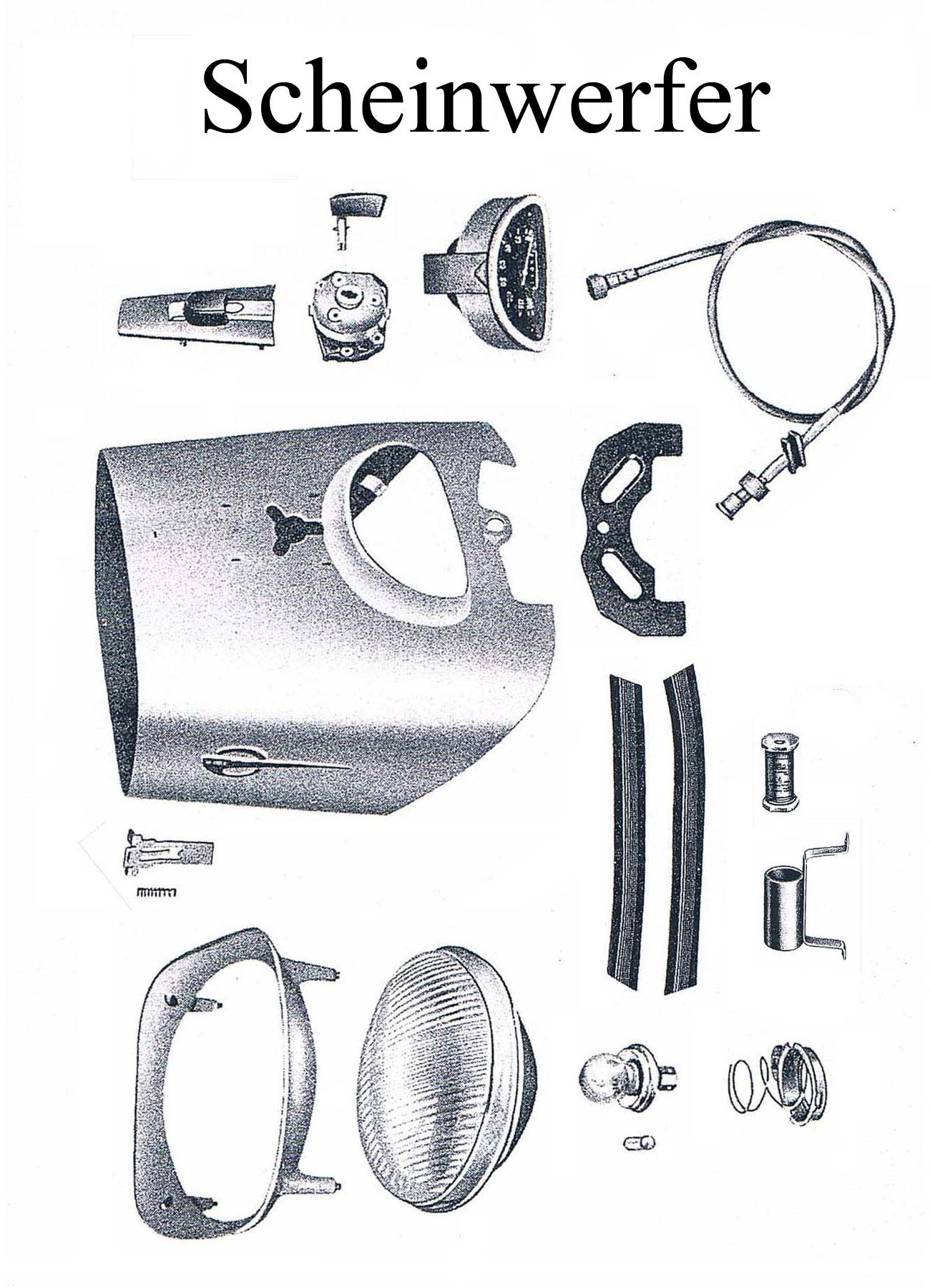 DDR-Motorrad MZ ES 175/2-250/2 Ersatzteileliste Scheinwerfer Lampenring Tachometer Welle Reflektor Zündschloss