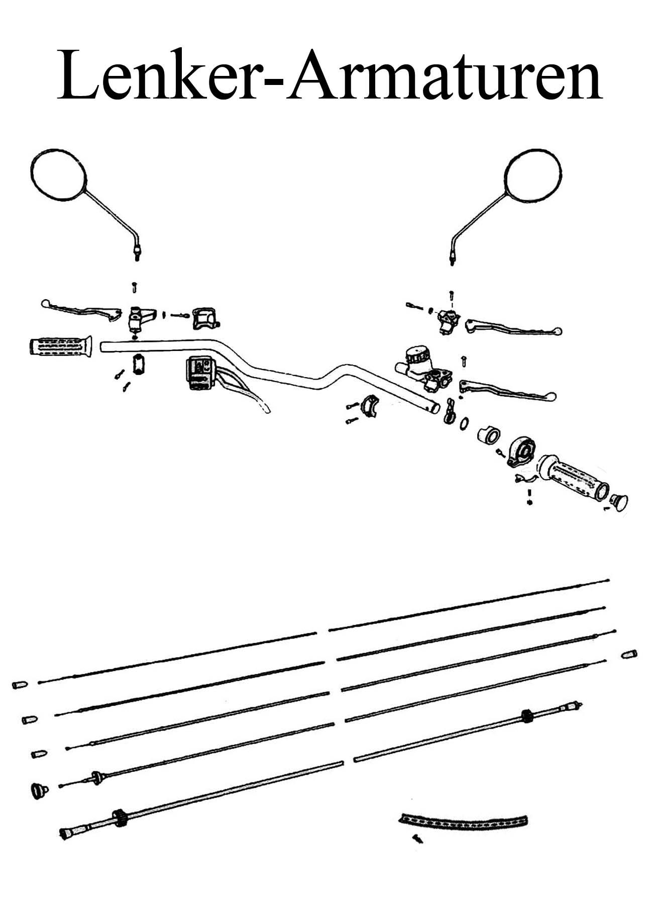 DDR-Motorrad MZ ETZ 125-150 Ersatzteileliste Lenker Armaturen Bremshebel Kupplungsbowdenzug Spiegelglas Griffgummi Tachometer Drehzahlmesserwelle