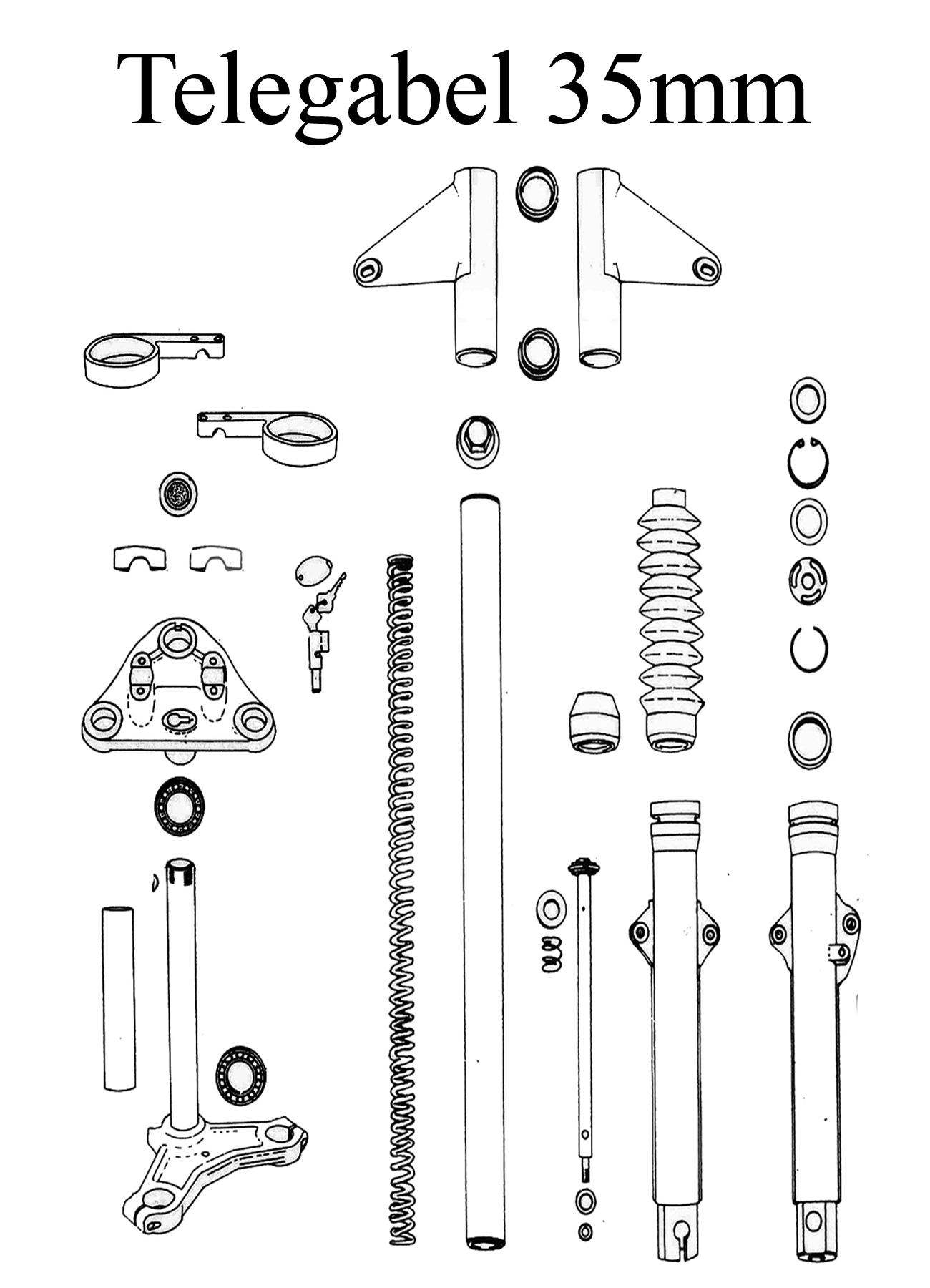 MZ TS 125 150 Ersatzteile Telegabel 35mm Vorderradfederung Führungsrohr Gleitrohr Faltenbalg Instrumentenhalter