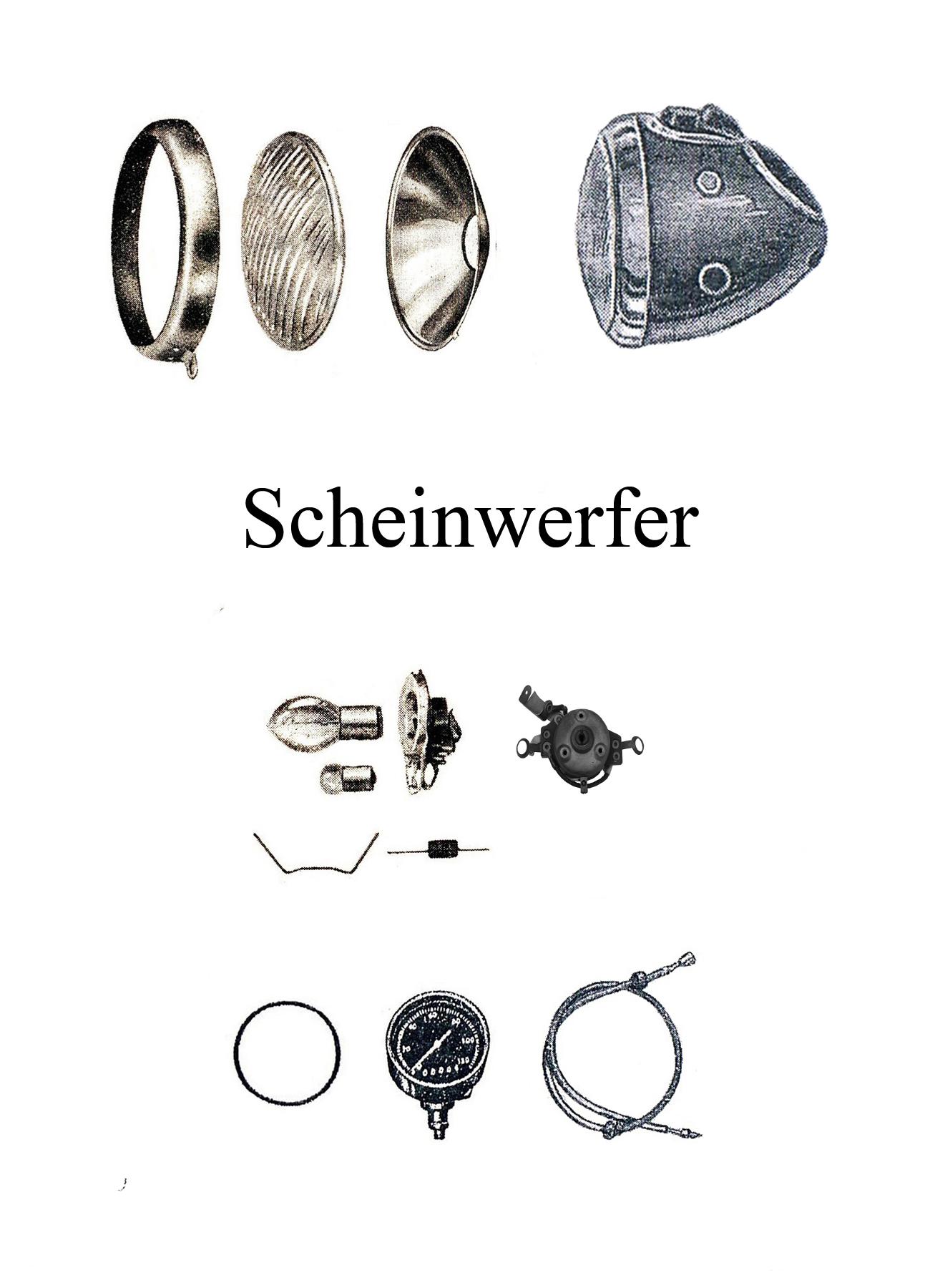 DDR-Motorrad AWO Sport Scheinwerfer Reflektor Dichtgummi Lampenring Zündschloßabdeckung Tachometerwelle Reflektor