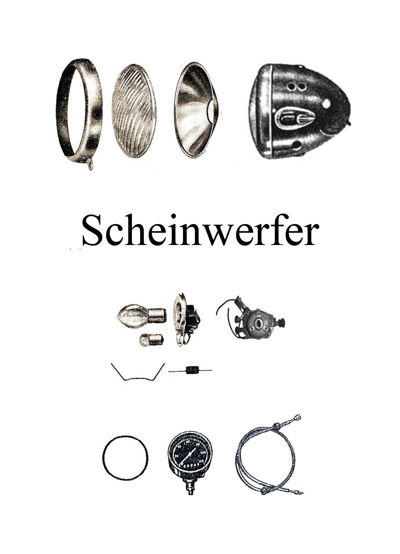 DDR-Motorrad AWO Touren Scheinwerfer Reflektor Dichtgummi Lampenring Zündschloßabdeckung Tachometerwelle Reflektor