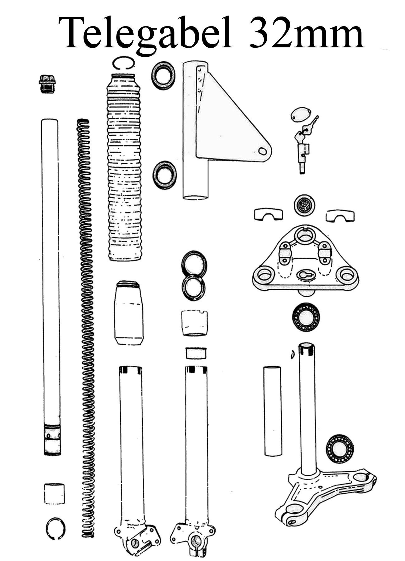 MZ TS 125 150 Ersatzteile Telegabel 32mm