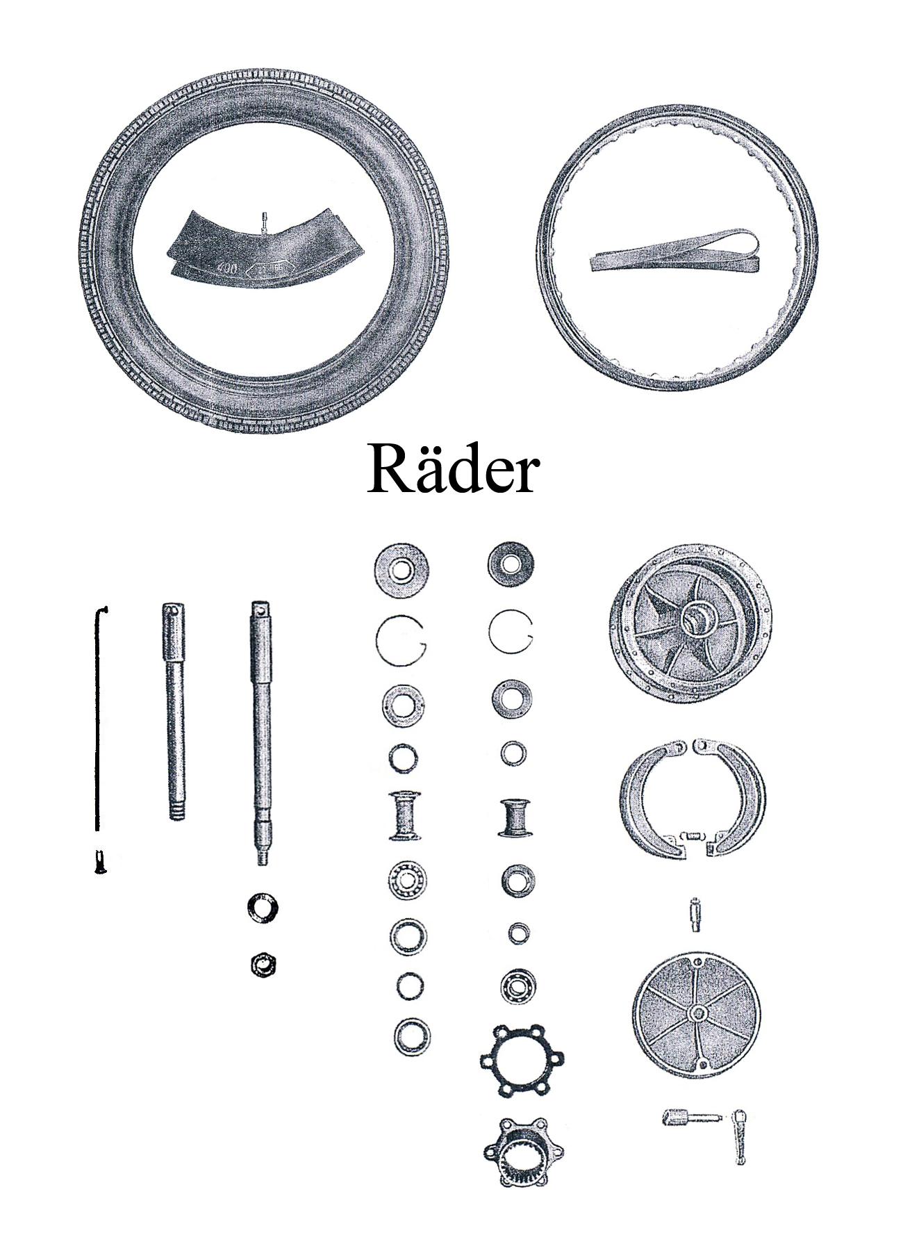 DDR-Motorrad AWO Sport Ersatzteileliste Räder vorn hinten Reifen Schlauch Felgenband Speichen