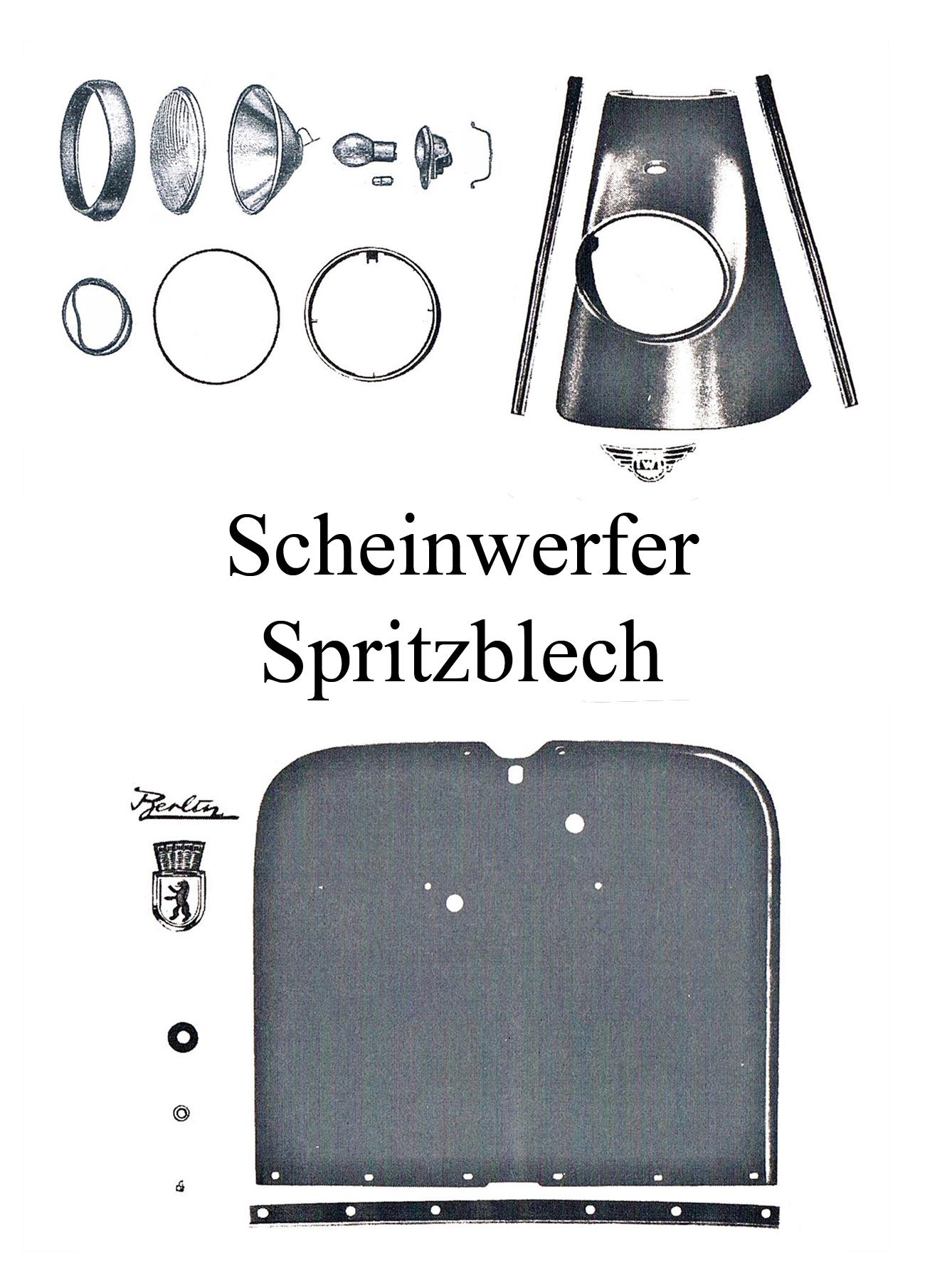 DDR-Motorrad IWL Berliner Roller SR 59 Ersatzteileliste Scheinwerfer Spritzblech Reflekor Lampenring Kedergummi Emblem Blende