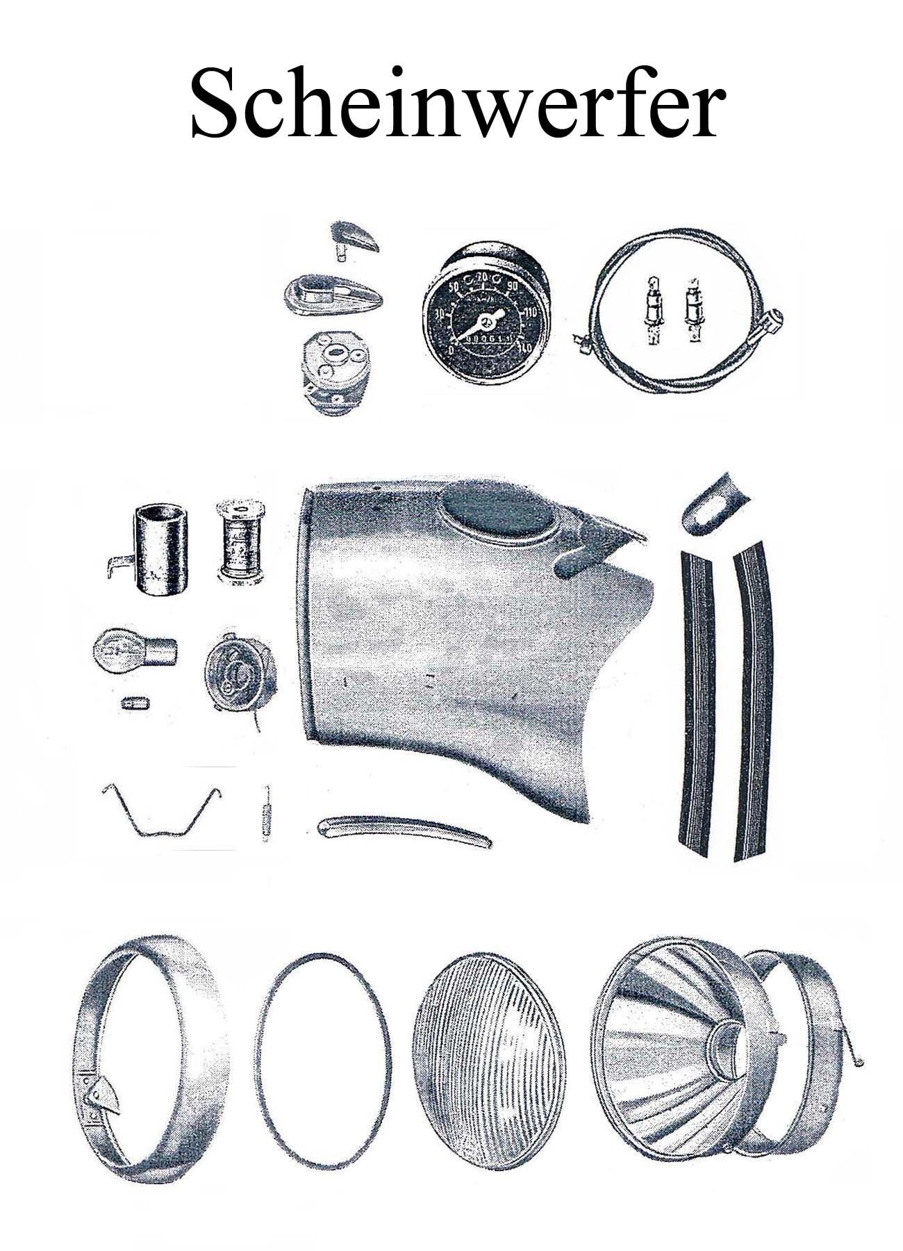 DDR-Motorrad MZ ES 175-250/0-1 Ersatzteileliste Scheinwerfer Lampe Reflektor Dichtgummi Tachometer Chromring Zündschloßabdeckung Keder Gummi
