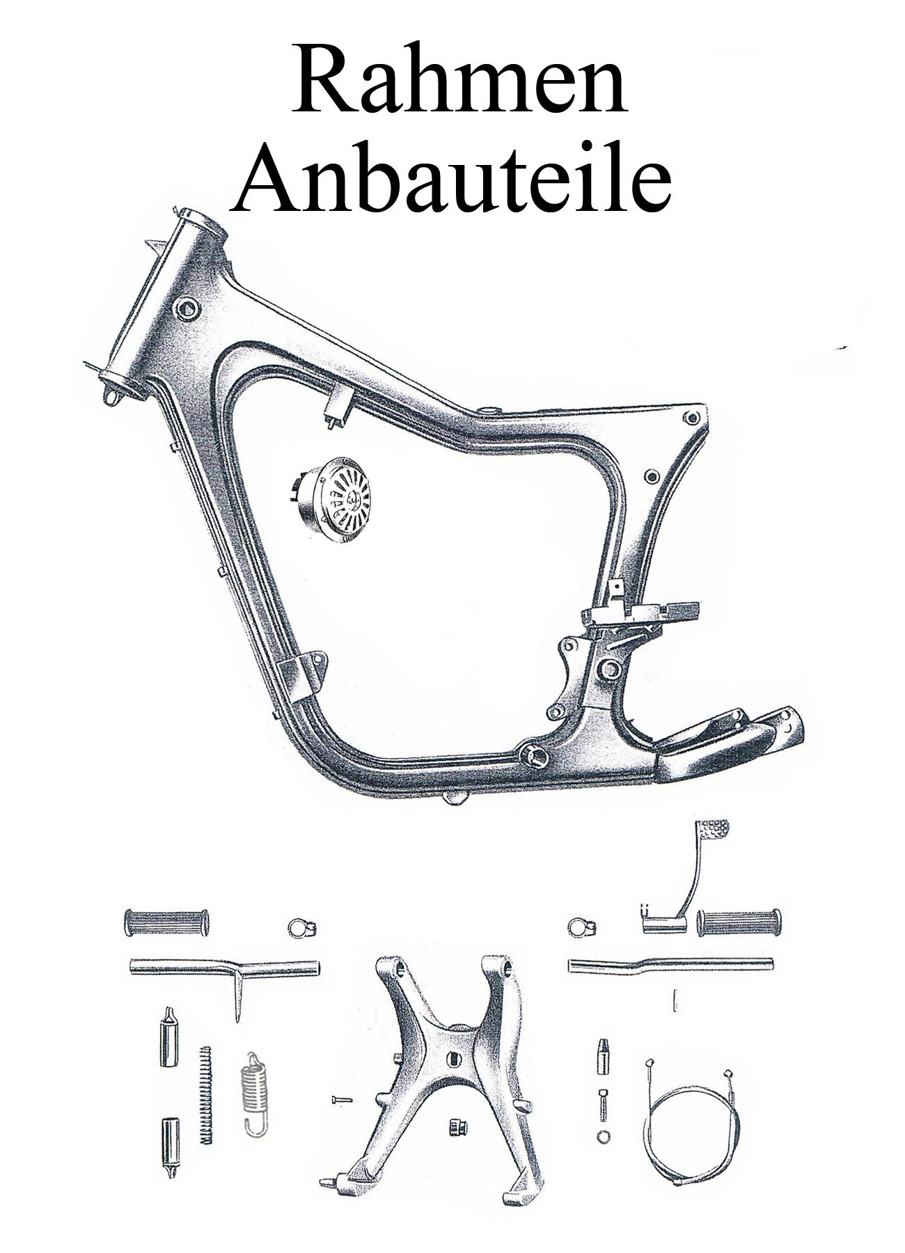MZ ES 125-150/0-1 Ersatzteileliste Rahmen Lenkungslager Ständerfeder Fußrastengummi Gepäckträger Hupe
