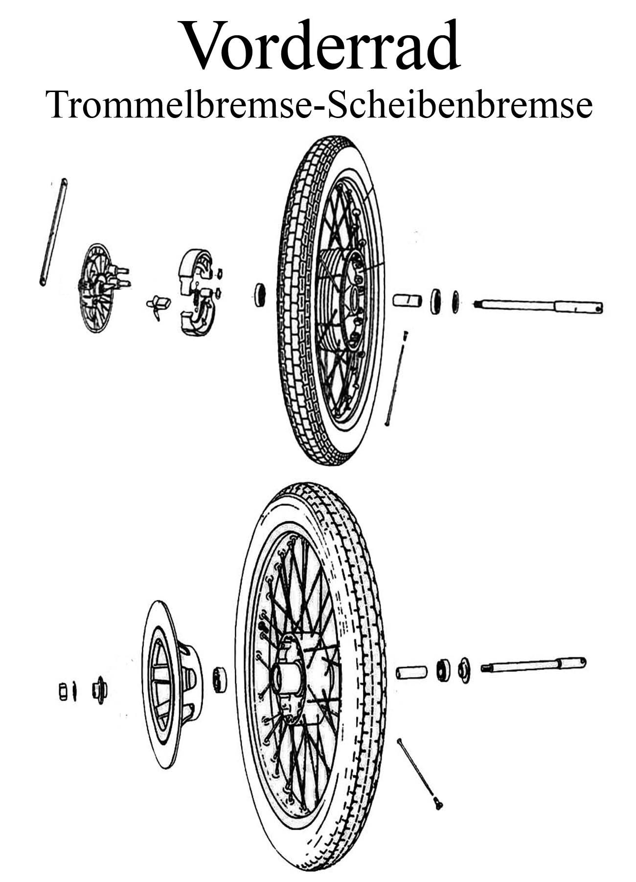 MZ ETZ 125-150 Ersatzteileliste Vorderrad Trommel-Scheibenbremse 18 Zoll Reifen Schlauch Felgenband Lager Speichen