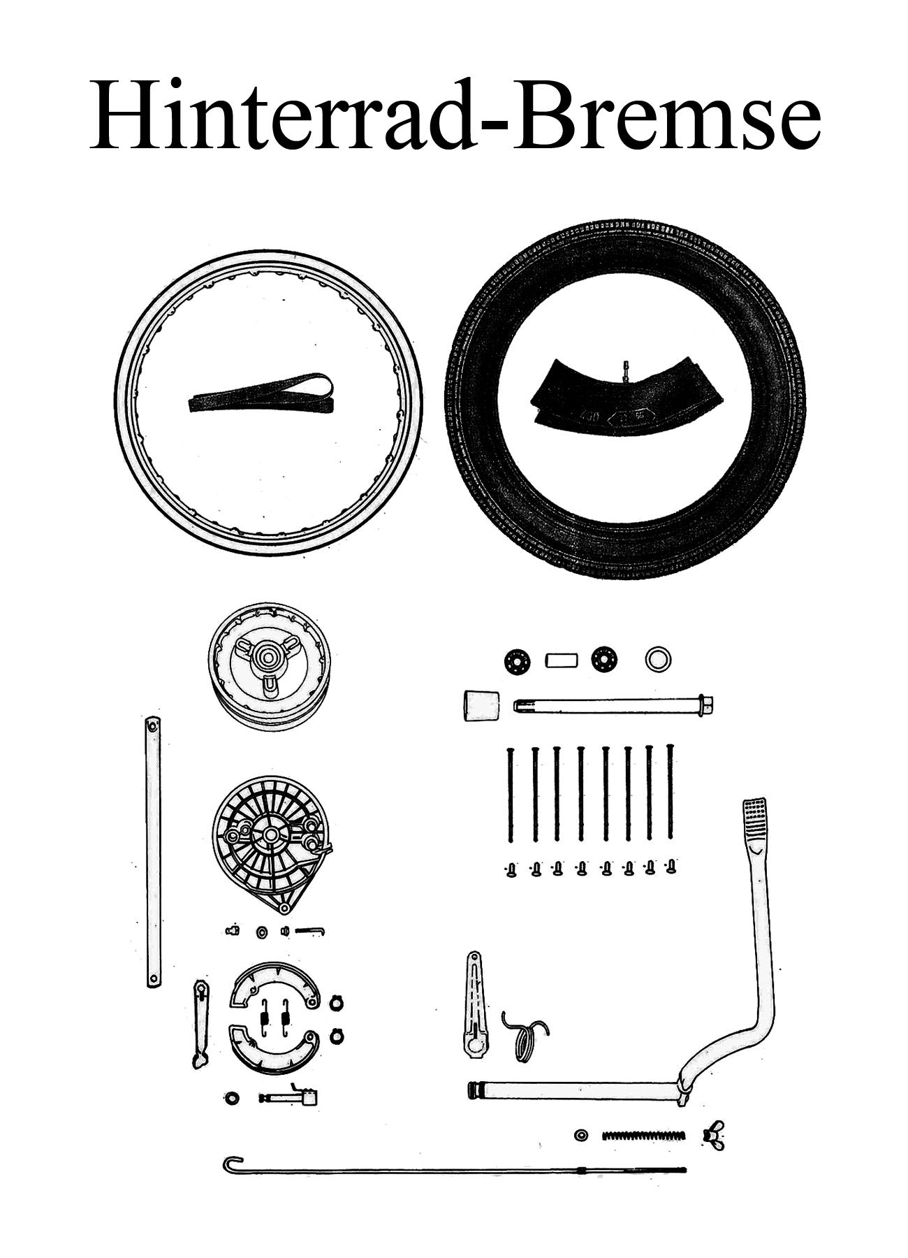 MZ TS 250 250/1 Ersatzteile Hinterrad Bremse