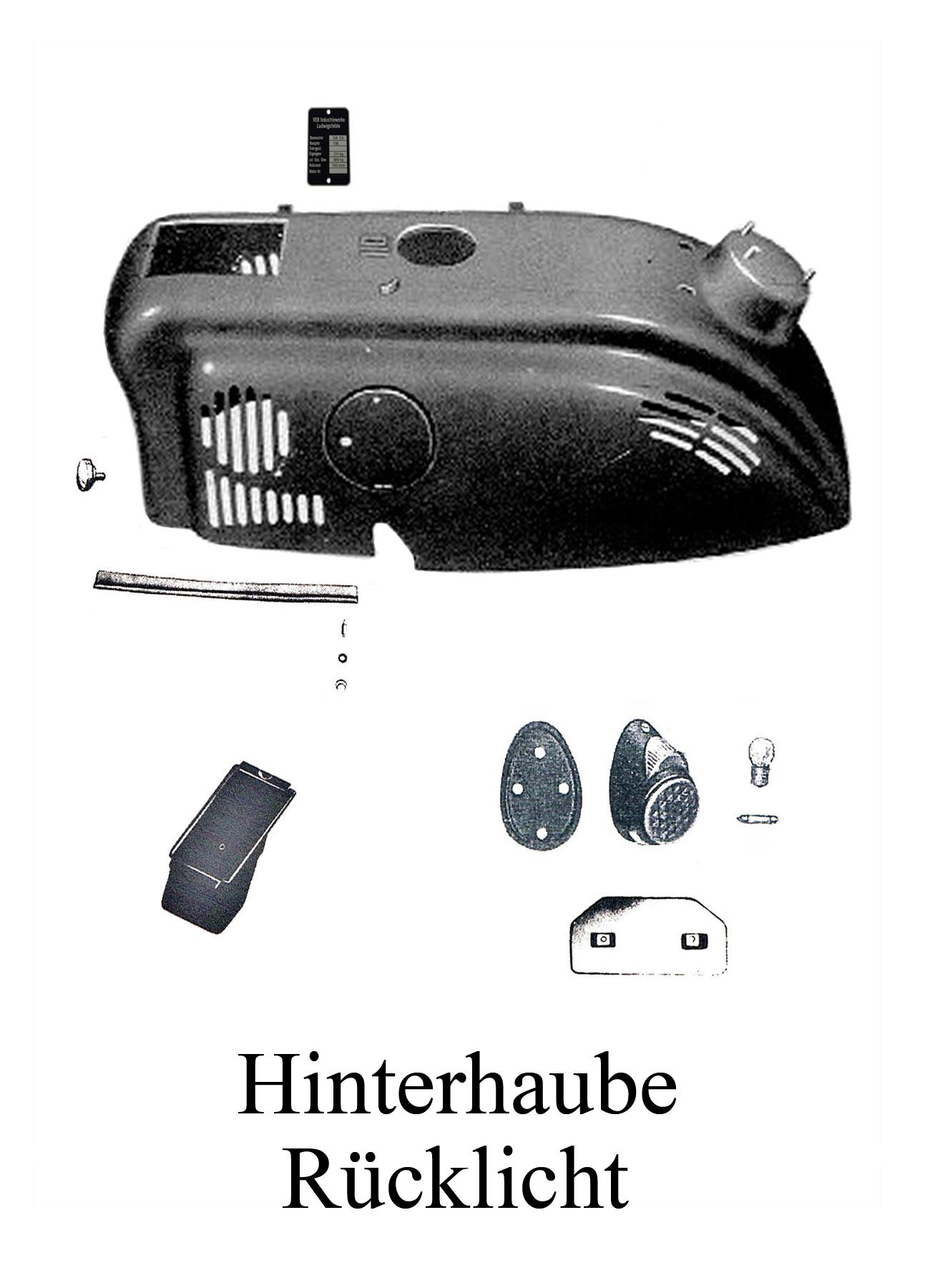 DDR-Motorrad IWL Berliner Roller SR 59 Ersatzteileliste Hinterhaube Rücklicht Kedergummi