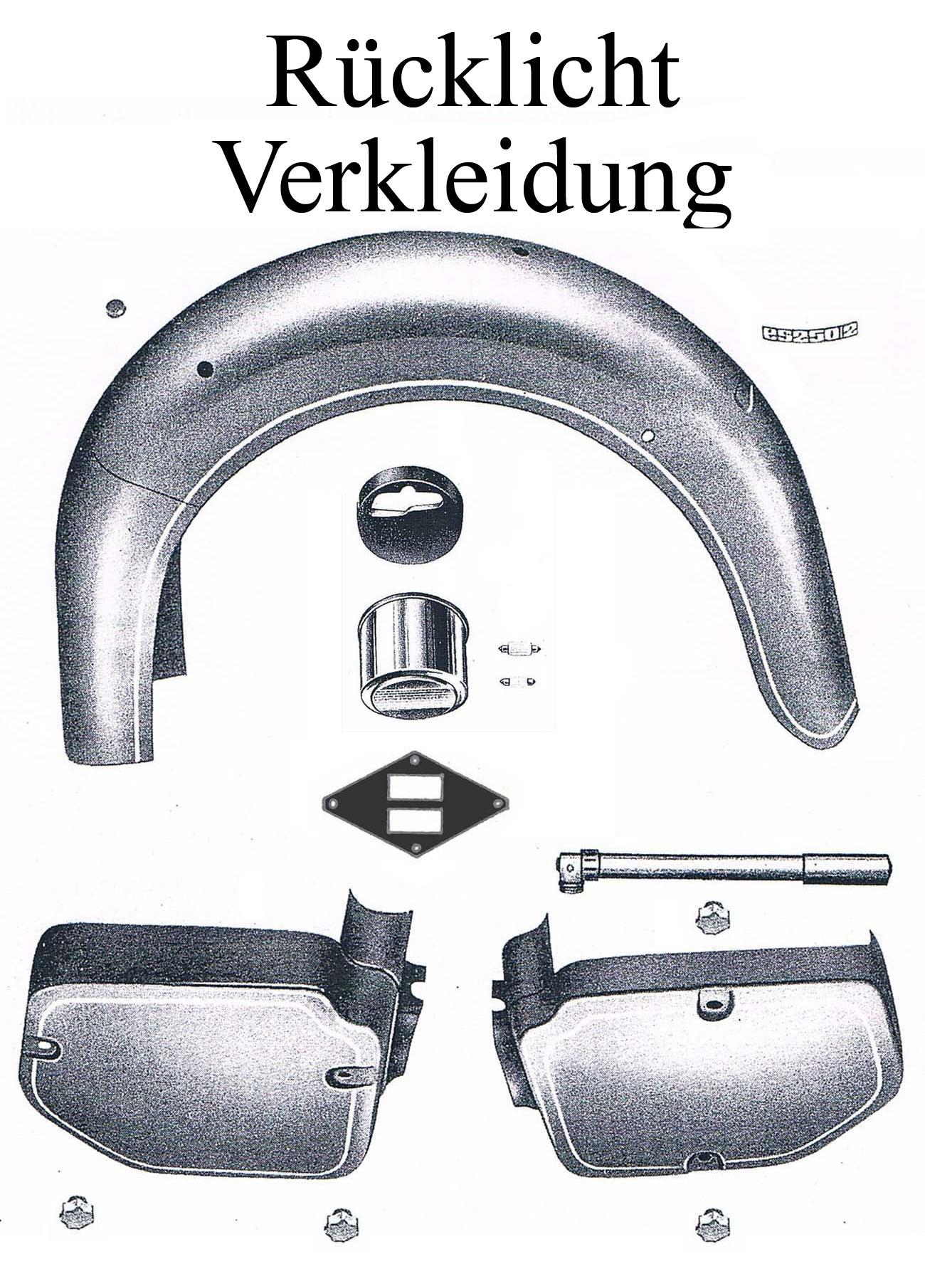 DDR-Motorrad MZ ES 175/2-250/2 Ersatzteileliste Rücklicht Verkleidungen Schutzblech Kotflügel