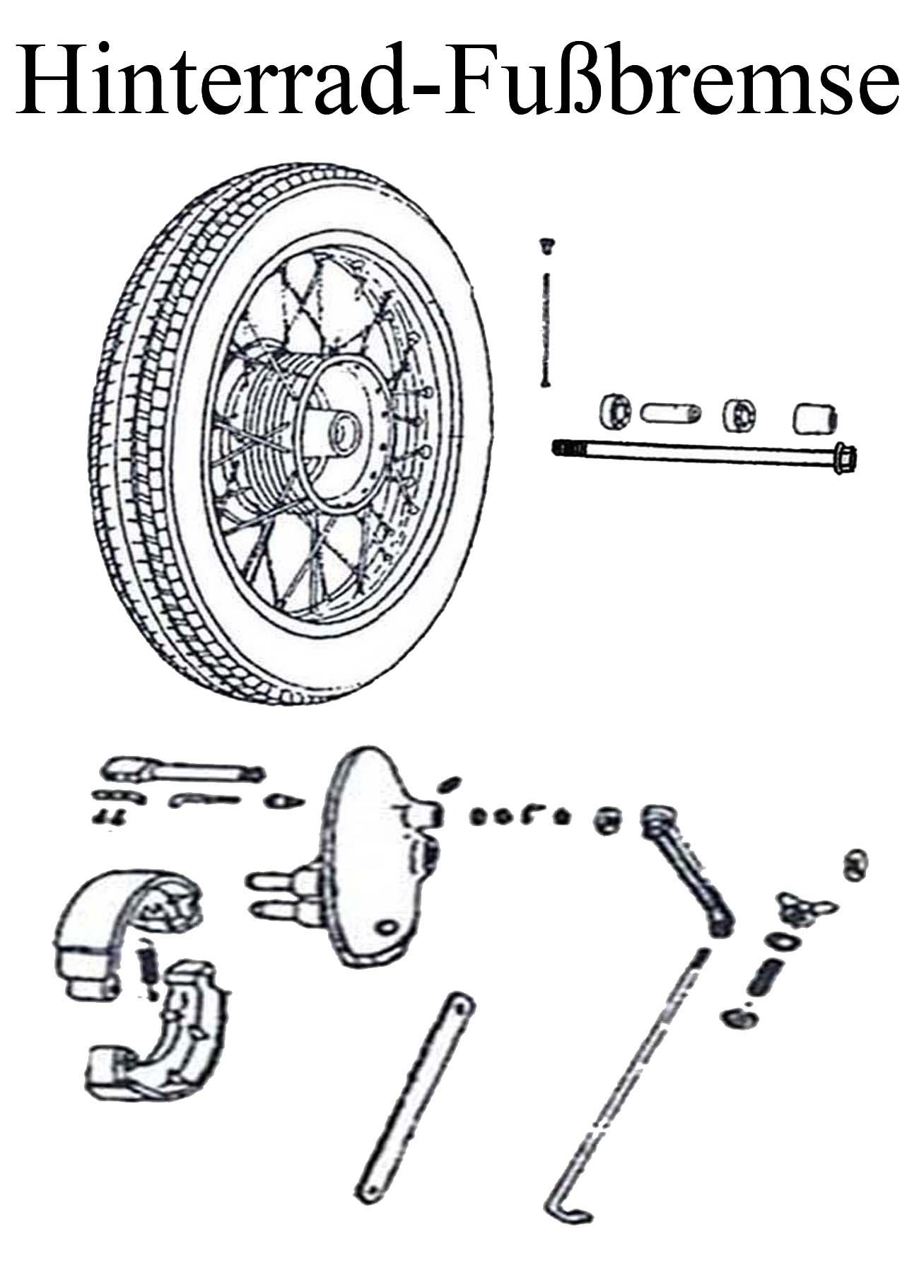 DDR-Motorrad MTZ 125-150 Ersatzteileliste Hinterrad Reifen Speiche Felgenband Radlager Bremsbacken Hebel Lichtkontakt