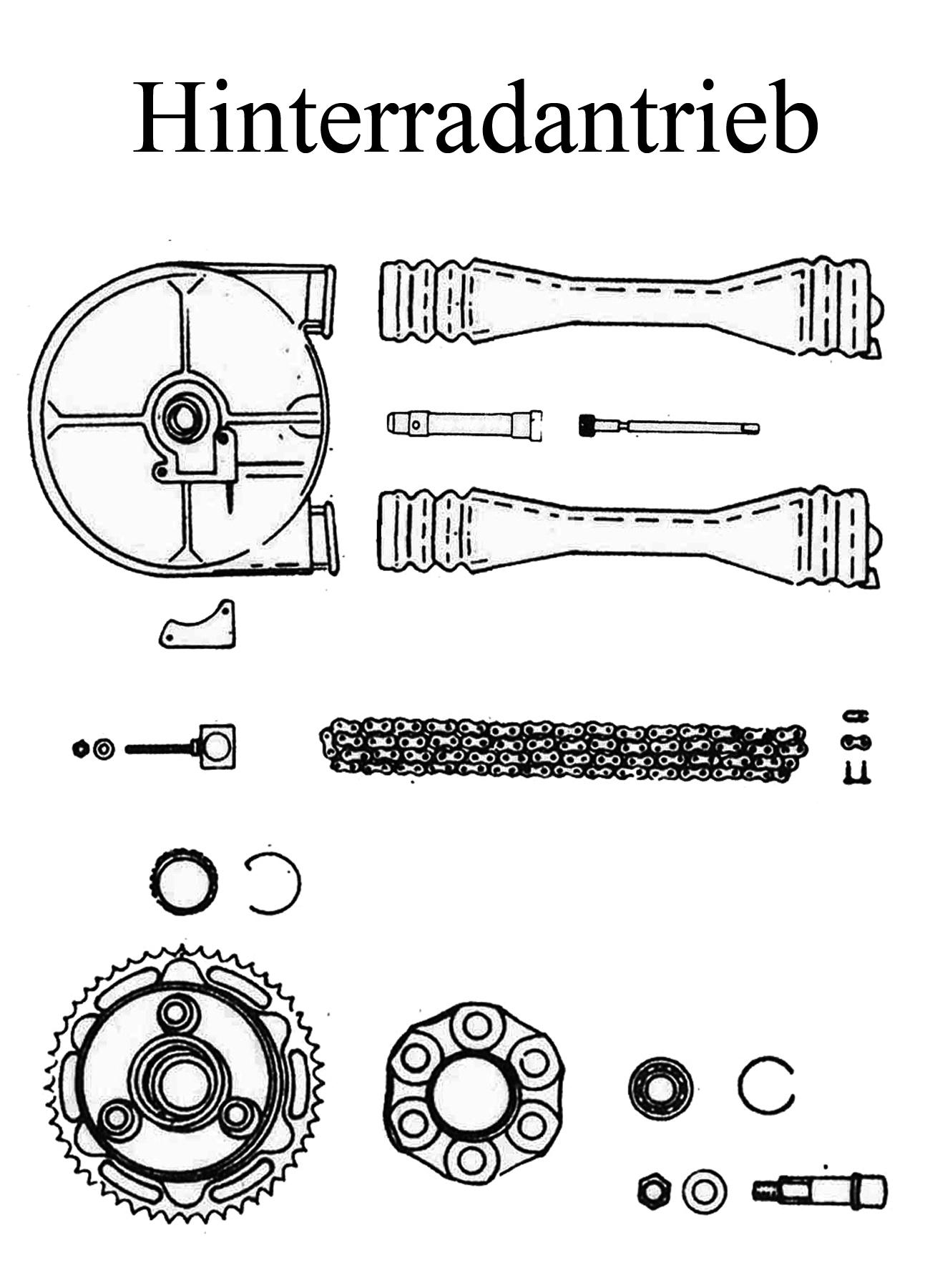DDR-Motorrad MZ TS 125 150 Ersatzteile Hinterradantrieb