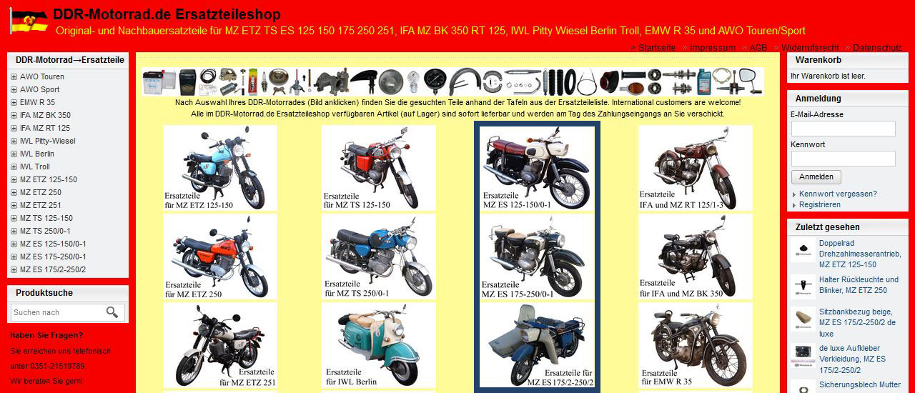 Ersatzteile für MZ ES 125 150 175 250