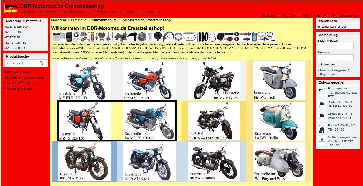 Ersatzteile Shop für MZ TS 125 150 250 250/1